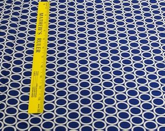 Remix-White Circles on Navy Blue Cotton Fabric (#13389) Designed by Ann Kelle for Robert Kaufman Fabrics