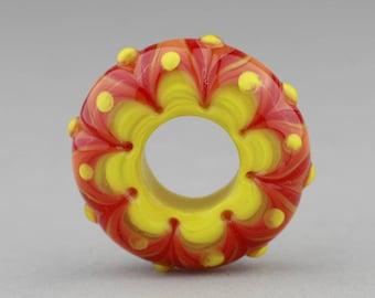 """Handmade Lampwork Glass Bead """"Fire Cracker"""" Disk Focal Bead ~ Big Hole Bead"""