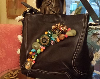 Purse leather vintage jeweled