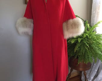 Late 50s/60's Wool Felt Cloak Trimmed with Fox Cuffs