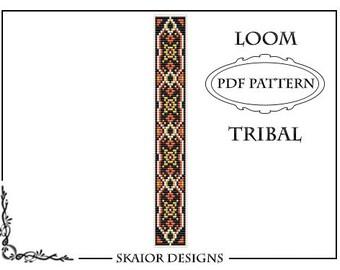 Loom Pattern Loom Bead Pattern Tribal Bracelet Ethnic Geometric Seed Beads Pattern Black White Orange Square Stitch Pattern Bead Weaving