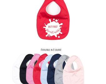 But first breast milk, breast feeding bib, baby bib, breast milk bib, feeding bib, organic cotton, breast fed baby, baby shower gift
