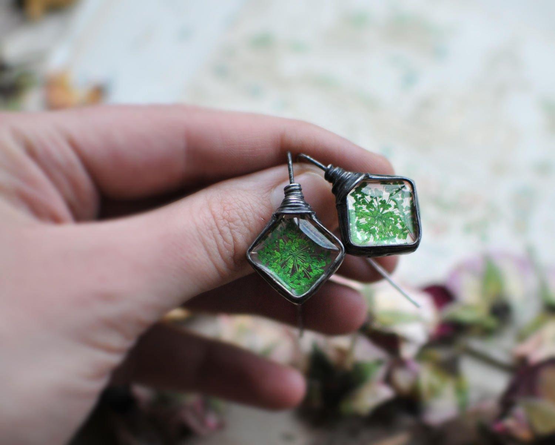 Raw Terrarium Jewelry Dangle Earirings Bridal Jewelry Hook # Terrarium Dangle