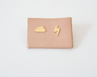 Weather Earstuds - Cloud and Lightning in Gold / Silver