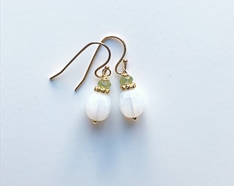 Faceted Opalite and Peridot Earrings on 14k Gold