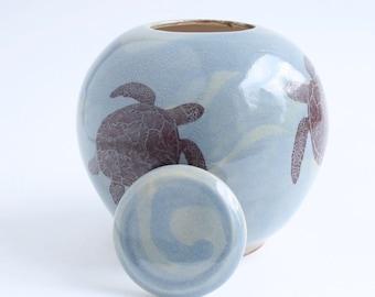 Small Blue Turtle Urn - cremation urn, pet urn, funeral urn, child urn, ocean urn, sea urn