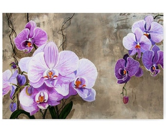 Violet Orchids Flower Blossom Wisdom bouquet Zen Asian Ambience, Original illustration Artist Print wall Art, Free Shipping in USA.