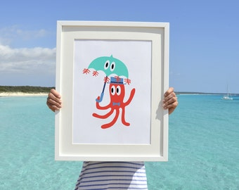 Octopus with Jellyfish Umbrella - Nursery  Octopus A3 plus sized Poster Wall Art - Nursery Room print NRS009A3P