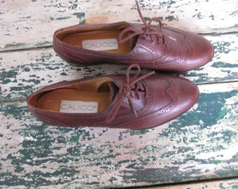 Vintage 1980's Oxford Lace Ups// Brown// Calico// Size 7M// Never Worn