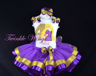 Rapunzel inspired 1st 2nd 3rd 4th 5th 6th Birthday Party Purple Outfit Dress Personalized Outfit Ribbon Tutu and Hair Bow Size 12M 24M 2T 3T