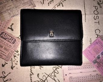 ETIENNE AIGNER VINTAGE 4 x 4  X 1 Black Leather Trifold Wallet