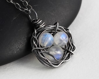 Moonstone Necklace - Rainbow Moonstone Necklace - Sterling Silver Necklace - Bird Nest Necklace - Xmas Gift - June Birthstone - Natural