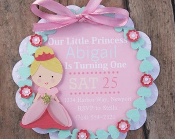 princess invitation, first birthday invitation, baby girl invite, royal invitations, princess birthday, princess invites, pink girl