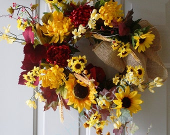Fall Wreath, Summer Fall Wreath, Sunflowers Mums Wreath, Door Wreath Original Handmade