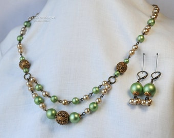 Repurposed Vintage Necklace, Green Gold Pearl, Vintage Beads, Necklace Earrings Set