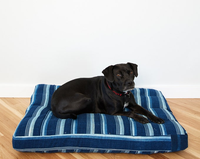 Indigo Striped Mudcloth Dog Bed // Large