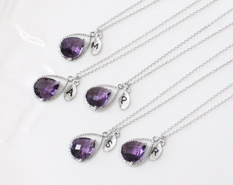 Bridesmaid gifts - Set of 7, 8, 9, 10 -Leaf initial, purple necklace, Gorgeous Drop, Initial necklace