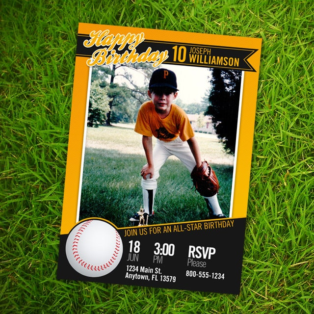 Baseball Card Birthday Invitation 5x7 or 4x6 Custom