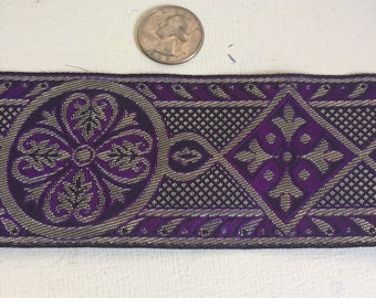 Purple silver Celtic cross vestment trim 2.5 in. wide by the yd