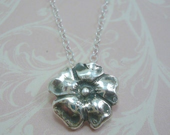 Fine Silver Flower Necklace