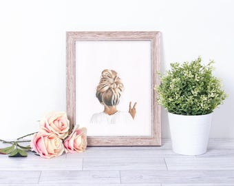 A5-A4 Illustration print art hair style peace sign blonde girl home decor drawing teenage child gift
