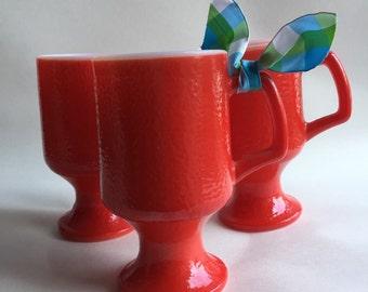 Vintage 1969s Red Milkglass Footed Pedestal Mug Orange peel texture