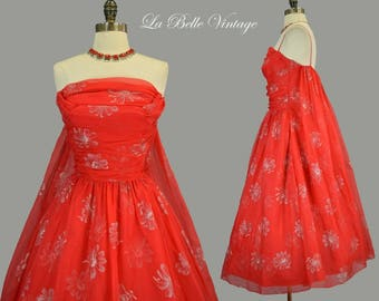 50s Red Chiffon Cape Dress S Vintage Silver Flocked Party Gown