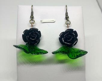 Black rose with leaves retro earrings