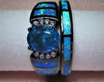 S925 Stamped Sterling Silver, Aqua, Blue Fire Opal, 2pcs Engagement Wedding Ring Set Sizes 6-10