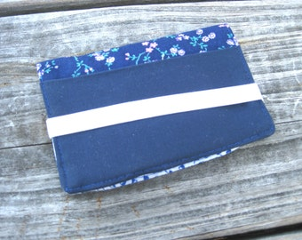 Business Card Holder Mini Wallet- Bifold Inside Outside Wallet in Blue and White Calico Cotton Fabric