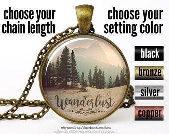 Wanderlust Necklace, Wanderlust Pendant, Wanderlust Jewelry, Wanderlust Mountain Necklace, Bohemian