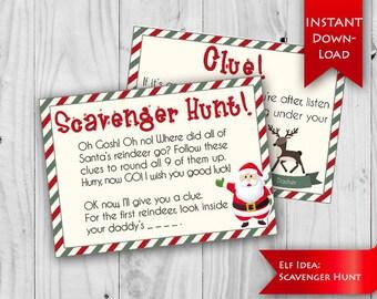 ON SALE! Elf Idea -  Scavenger Hunt | Find Santa's Reindeer | Christmas Elf Ideas | Christmas Scavenger Hunt {instant download}