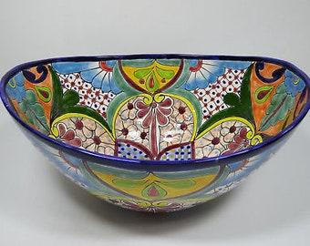 "18"" TALAVERA SINK oval vessel mexican bathroom handmade ceramic folk art"