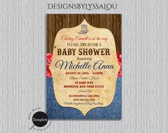 Cowboy Baby Shower Invitation, Western Baby Shower Invitation, Vintage Western Baby Shower Invitation, Cowgirl, Cowboy, Template, You Edit