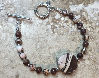 Zebra Jasper and Sterling Silver Bracelet
