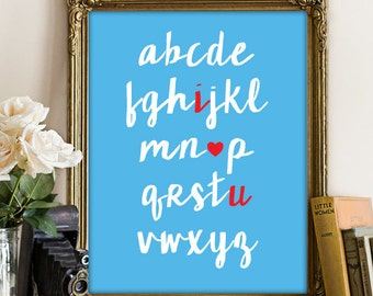 I Love You Alphabet Nursery Poster, PRINTABLE ART, Nursery Wall Art, Nursery Poster, Nursery Art Print, Nursery Printable, Baby Shower 121