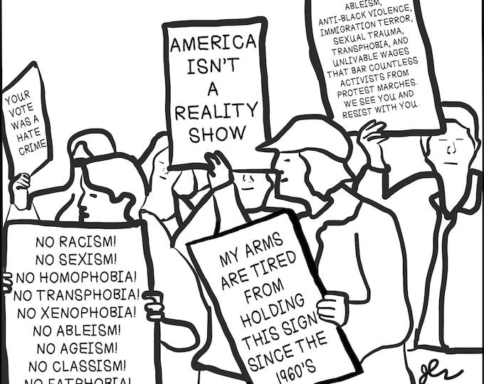 Women's March Protest Shirt LGBT Rights Immigrant Rights Activist No Racism No Sexism No Homophobia No Xenophobia DIY Political Punk TShirt