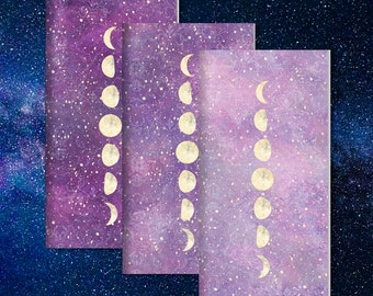 Travelers Notebook Insert, Midori Insert, Bullet Journal, Fauxdori Insert, Traveler's Notebook Refill, Moon Phase Set of 3