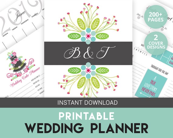 Printable Wedding Planner Binder Planning A Rustic: Wedding Binder Wedding Organizer Printable Planner
