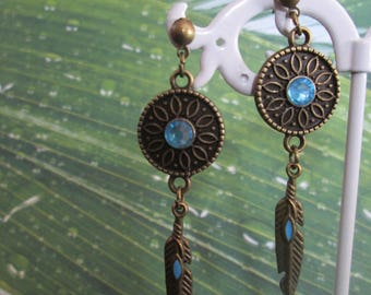 rose and bronze and turquoise feather earrings