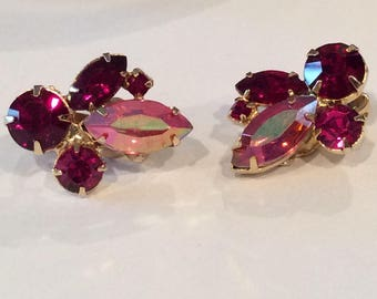 Vintage pink and Red Rhinestone Clip on earrings, Pink Aurora Borealis and Ruby Red Stones in a cluster, Wedding jewelry, Prom earrings