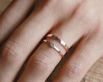 Shining Deity Ring Set   14k Rose Gold and Diamond Set    Nature Inspired Rings