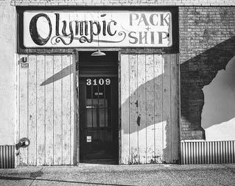 Architecture Photo, Abandoned, Moody Black and White Urban Decay, Mid Century Building, Gift for Man, Olympic, Mailman Gift, Peeling Paint