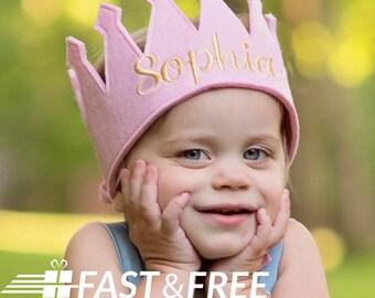 girls birthday crown, girls pink felt crown, personalized birthday hat, embroidered birthday crown birthday crown, birthday hat,
