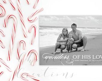 Wonders Of His Love Christmas Card -Holiday Card Digital or Print