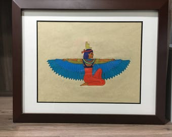 Framed Ancient Egyptian Art - Egyptian Goddess Isis Wings - Egyptian Home Decor - Egyptian Drawing - Original Art - Original Drawing - OOAK