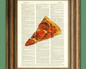 Most Delicious PIZZA Slice with Pepperoni yum beautifully upcycled dictionary page book art print