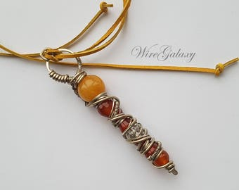 Pendant Wand Carnelian Stone Wrapped Necklace Protection Amulet for Women Art Deco Everyday Jewelry Talisman for luck