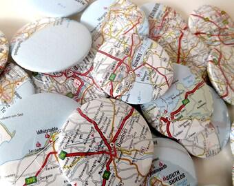 Vintage UK Road Map Badges 45mm / Gifts for Geography Geeks!