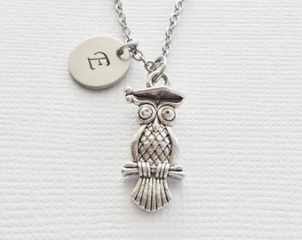 Wise Owl Necklace Owl Bird Woodland Jewelry Graduation Gift Friend Birthday Gift Silver Jewelry Personalized Monogram Hand Stamped Letter